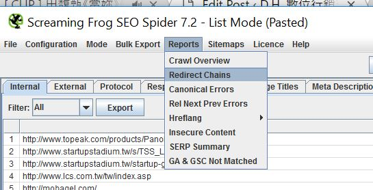 Screaming Frog Redirect Chain Export